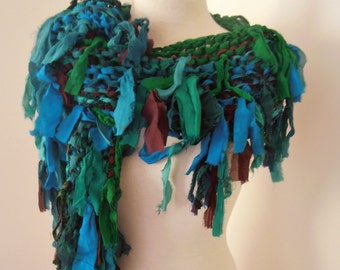 recycled silk  chiffon boho chic little tattered scarf  rich turquoise blue and green handknitted by plumfish