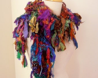 recycled silk  boho chic little tattered scarf  woodland jewels handknitted by plumfish