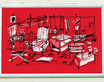THE LOUNGE | midcentury modern living room | retro red | limited edition screenprint poster | by Kathryn DiLego