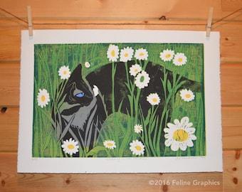 Siamese Cat in Daisies Linoleum Block Print, Cat Print, Home Decor, Linocut, Cat Art, Siamese Cat, Hand Printed, Cat Lady Gift