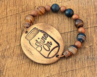 Mason Jar Shine On Bracelet moonshine rustic country farm girl chic southern belle charm saying phrase brown copper dark beige distressed