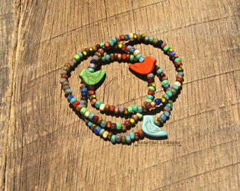 Bird Bracelet turquoise green orange vibrant bright rainbow colorful rustic boho woodland nature stack stacking stackable