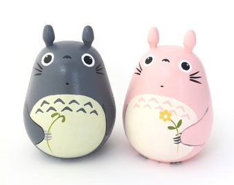 "2 Totoro lover Dolls 4.5"" tall  pink and gray Studio Ghibli (Size XL 4 6)"