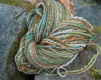 Handpainted yarn, handspun worsted wool yarn, OOAK two ply skein-FOREST GNOME