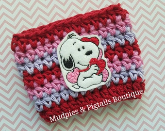 Coffee Cozy { Snoopy Hearts } Valentine's Day, pink, red, coffee mug sleeve, knit mug sweater, charlie brown, peanuts, coffee gift