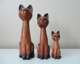 VINTAGE trio of carved WOODEN siamese CATS