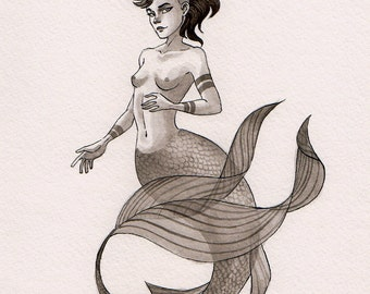 ORIGINAL - Ink Mermaid - 8x10