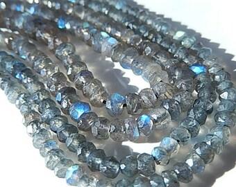 Labradorite Gemstone Faceted  Rondelles, 4 to 4.5mm Semi Precious Gemstone Rondelle Bead. Select Length (jlab)