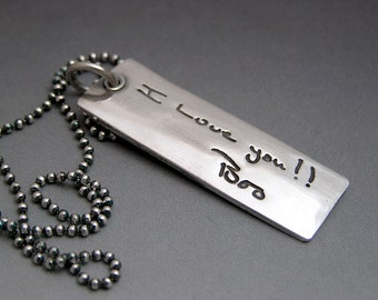 Handwriting Jewelry Your Actual Loved One Hand Writing Made into a Fine Silver Pendant Necklace