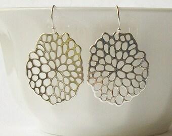 Summer Sale! Silver Glossy Floral Dangle Earrings