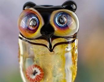 Sylvia.......... lampwork owl bead...... sra