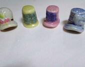 Set of four thimbles, bonnet thimbles, vintage thimbles