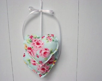 Pink and Blue Heart Hangings, Valentine Hearts Wall hanging, Fabric Hearts Wall Hanging, Valentine Decorations