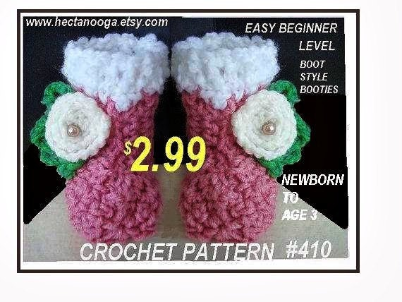 Num. 410, CROCHET PATTERN, Easy Beginner Level Baby Boots booties, newborn to age 3, Instant downloads