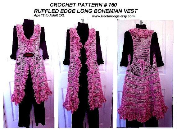 Crochet PATTERN Ruffled Edge Long Vest circular vest