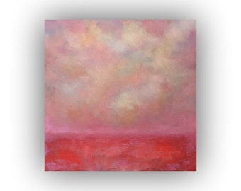 Pink and Red Abstract Landscape- Oil Painting on Canvas- Original 20 x 20 Sky Clouds and Field Palette Knife Art