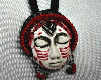 Face Pendant Ceramic Exotic Little Red Black and White