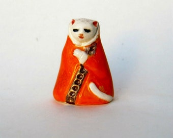 Miniature Elegant Cat Ceramic Miniature Animal Figurine Orange and Gold Luster