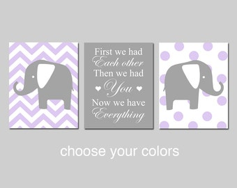 Chevron Elephant Nursery Art Trio - Set of Three Prints - First We Had Each Other, Then We Had You, Now We Have Everything