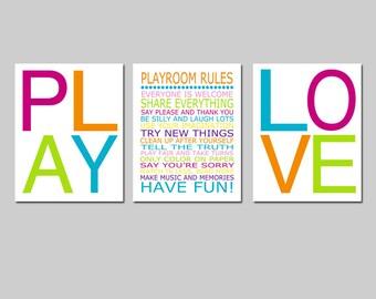 Playroom Rules Set Playroom Decor Playroom Wall Art - Play, Love - Kids Wall Art Nursery - CHOOSE YOUR COLORS - Set of Three 11x14 Prints