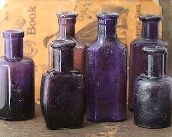 PURPLE BOTTLES- Amythest Glass- Antique Lot of Small Bottles-Instant Collection