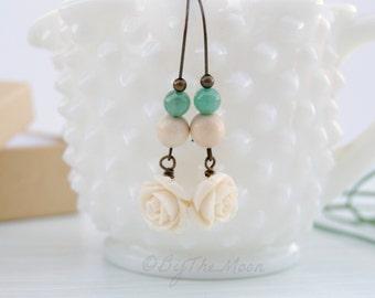 Long Rose Earrings - White Rose Earrings - Aventurine Stone Earrings - Kidney Wire Earrings - Long White Earrings - Long Green Earrings