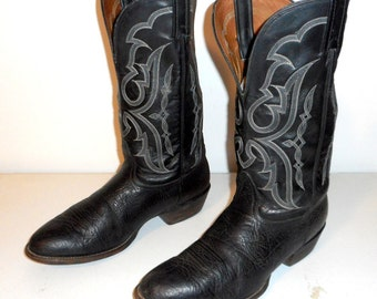 Mens Size 11 EE Cowboy Boots Black Leather Nocona Western White Classic Wide Width