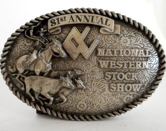 1987 National Western Stock Show and Rodeo Belt Buckle Roper Cowboy Roping Horse Steer