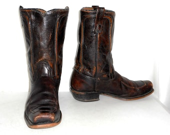 Mens 10 Vintage Acme Cowboy Boots Rustic Country Rockabilly Brown Indie Shoes