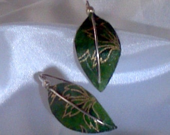 Green and Gold Washi paper leaf And Sterling Silver earrings