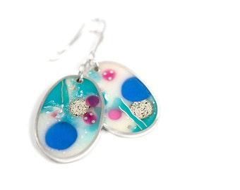 That Much Earrings #2 ooak multicolor resin sterling silver