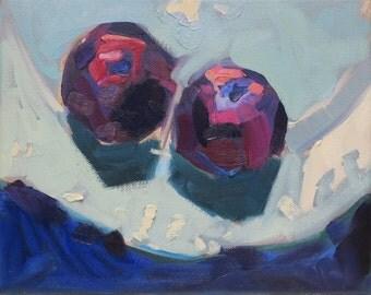 Purple Plums - impressionism - impressionistic - graphic art - purple plum painting - artist Linda Hunt - fruit painting - alla prima oil