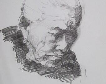 Old Woman - sketch - drawing - illustration - artist Linda Hunt South Carolina - graphite - paper art - representational drawing - black