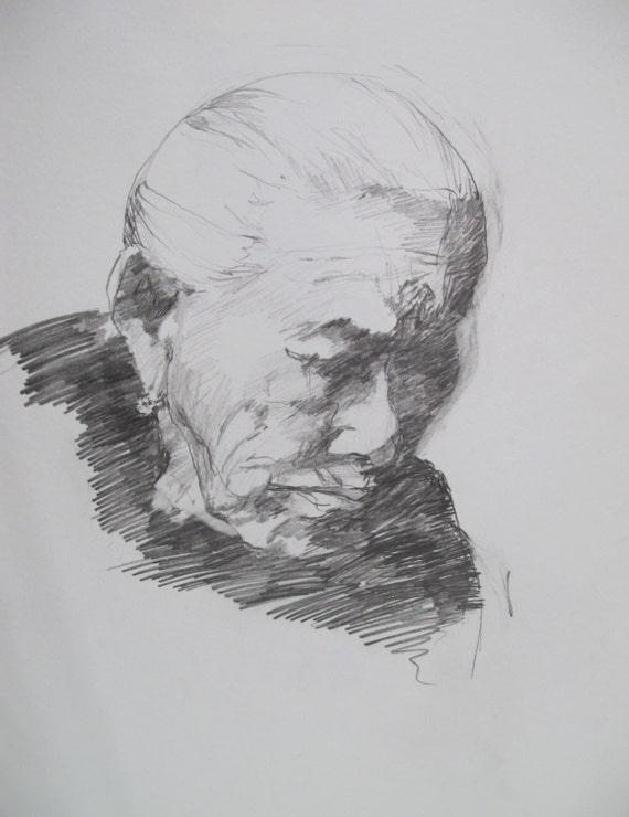 Old Woman.....drawing, graphite, original, paper, Linda Hunt