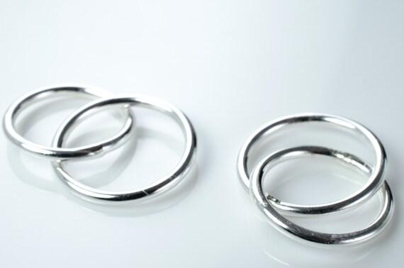Sterling Silver Interlocking Ring Sets - 16 Gauge