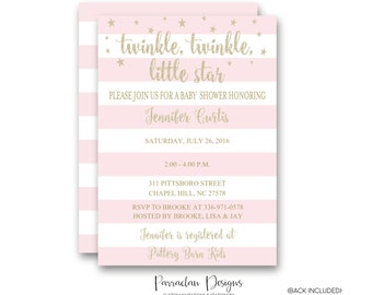 Twinkle Twinkle Little Star Baby Shower Invitation   Twinkle Twinkle Baby Shower Invitation   Glitter Invitation, Pink, Girl {Baby76}