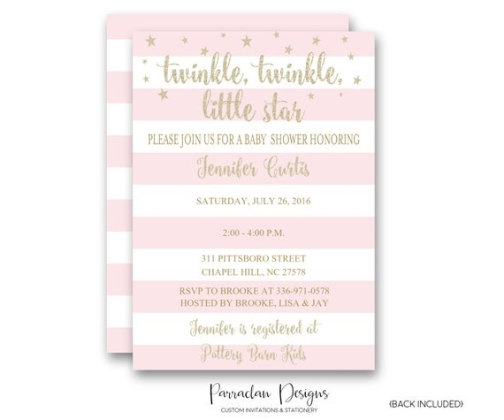 Twinkle Twinkle Little Star Baby Shower Invitation | Twinkle Twinkle Baby Shower Invitation | Glitter Invitation, Pink, Girl {Baby76}