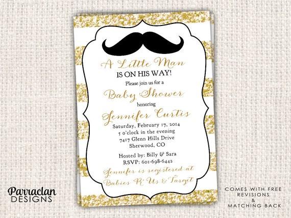 Little Man Baby Shower Invitation, Little Man Baby Shower, glitter, printable, digital file, BS88