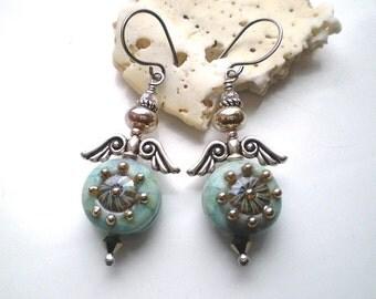 SWEET ANGELS ~ Lampwork and Sterling Silver Angel Earrings