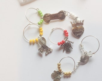 I love Knitting - Wine Glass Charms - Knitting Theme Theme - Gift for Knitter - Wine Glass Markers - Secret Sister - Knitting - Set of 6
