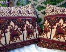 """Pillow Covers Set of Two Red Blue Brown Golden Camel Pillow Covers Vintage Upcycled Indian Cotton Fully Lined 16""""x16"""" and 17"""" x 18"""" Paisley"""