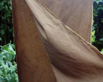 "Hemp/Silk Fabric Natural Walnut Dye Light Brown  14"" x 52"" Earth Tone Fabric Natural Dye Hemp Silk Golden Brown Hemp Silk Blend  ArtFabric"
