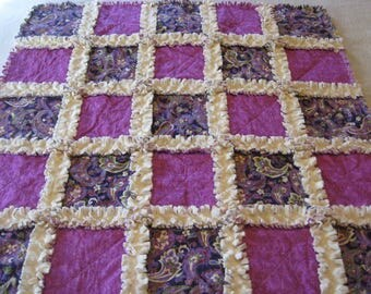 Lavender Paisley and Swirls with Minky Backing Baby Girl Rag Quilt Blanket 35x35
