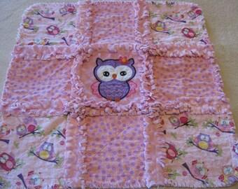 New Baby Girl Sweet Owl Rag Quilt Blanket 22x22