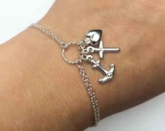 Faith Hope Charity Bracelet - Adjustable Sterling Silver Anchor Cross Heart Bracelet