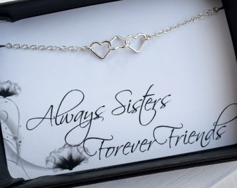 Sisters Bracelet - Tiny Linked Hearts Sterling Silver Bracelet with Message Card