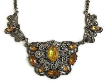 Vintage Topaz Rhinestones Czech BIB Choker Necklace Art Deco