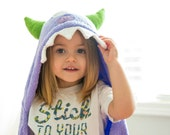 Personalized Yikes Twins purple monster Hooded Towel