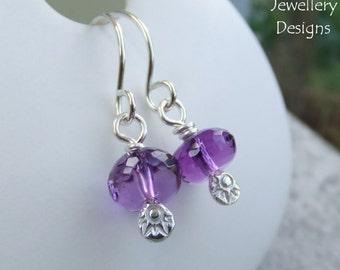 Amethyst Textured Drop Sterling Silver Earrings - Hand Stamped Gemstone - Handmade Metalwork Jewelry