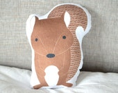 Squirrel Plushie Forest Animal Pillow Soft Baby Toy Kids Stuffed Animal Ready to Ship Gift Unique Baby Gift Woodland Nursery Glider Cushion